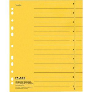 Trennblätter Falken 80001670, A4, gelb
