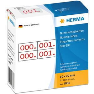 Nummernetiketten Herma 4886, 10 x 22mm