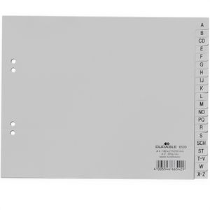 Register Durable 6500-10, A4-halbe Höhe, A-Z